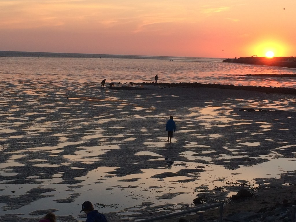 Das Büsumer Wattenmeer beim Sonnenuntergang im August.