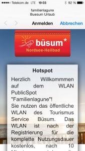 So werden Sie in der Familienlagune Büsum per WLAN Hotspot begrüßt.